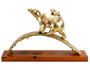 Golden Polar Bear With Baby - Limited Bronze - Animal Figure Signed Martin Small