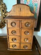 Vtg Primitive Antique Wood 8 Drawer Spice Apothecary Cabinet Chest