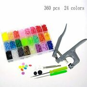 Yyaaloa 360set 24 Colors Snaps Buttons And Pliers Set T5 Plastic No-sew For Bibs