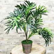 36cm 3 Fork Artificial Palm Tree Branch Green Fake Tropical Plants Indoor Rare P