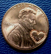 2018 Lace Heart Anniversary Counterstamp Imprint Lincoln Cent Lucky Charm Coin