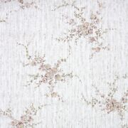 1980s Floral Vintage Wallpaper Rust Colored Flowers On White And Tan