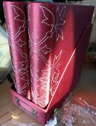 Set Of 2 Photo Albums 36 Pages Ea Red Fabric Slide In Photos In Matching Box