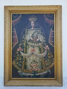 Antique Religious Renaissance 24x16 Oil Painting Of Female Royalty Queen Baby