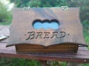 Vintage Counter Top Hand Crafted Wooden Bread Box Wood With Window