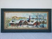 Vintage Signed 42x17 Oil Painting Of Mountain Houses Snowy Hills