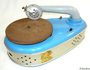 Vintage Tin Toy Disc Phonograph Child's Metal Turntable