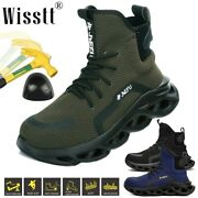 Mens Steel Toe Caps Work Boots High Top Safety Shoes Indestructible Construction