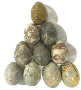Genuine Italian Alabaster Lot Of 10 Marble Eggs Made In Italy By C.p. Voltera