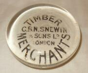 19th Century Advertising Paperweight For C B N Snewin Timber Merchants London