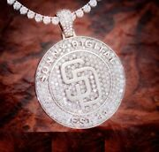 Menand039s Custom Name Logo Pendant 4 Mm Tennis Chain Set In 14k White Gold Plated