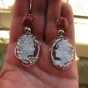 Vintage Antique Style Silve Cameo Flower Drop Earrings Italy Pearl