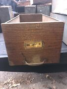 """C1900 Salvaged Heller Furnishings Cabinet Draw Oak Front 24/10/8"""" Galvanized Lin"""