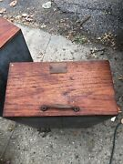 """C1900 Salvaged Heller Furnishings Cabinet Draw Oak Front 24/15/8"""" Galvanized Lin"""