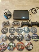 Sony Playstation 3 Super Slim With Games, Headset, And 4 Controllers