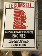 """Tecumseh Lauson Power Products Door Sign 8""""x 5"""" Red Black On White Set Two"""