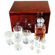 Crystal Whisky Decanter Tumbler And Shot Glass Set In A Makah Burlwood Box