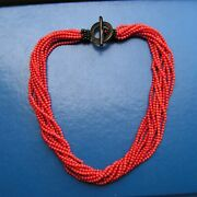 Rare Red Dark Sardinia Italy Coral Necklace Large Round Beads 19th C. Ball 3mm