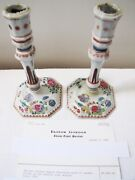 Antique Chinese Export Circa 1780 Porcelain Famille Rose Candlesticks.