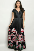 Womens Plus Size Black Maxi Dress Gown 2xl Rose Accents V Neck Pleated