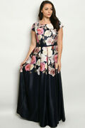 Womens Plus Size Navy Blue Maxi Dress Gown 3xl Rose Accents V Neck Pleated
