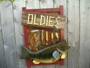 Folk Art Bass Fish Sign Old Barn/fence Wood With Vintage Wooden Lures