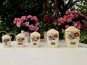 5 Lovely Antique French Canisters Spice Jars Lunéville Tulips Art Deco 1930s
