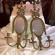 Antique Bronze Wall Sconce Pair With Mirrors Two Candle Holder And Crystals