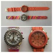 Two New Fashion Watches Colorful Silicone Bands New Lot Of 2