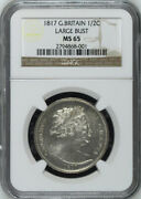 Great Britain 1817 Large Bust Half-crown 1/2 Crown Choice Uncirculated Ngc Ms65