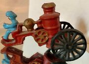 Vintage Cast Iron-fireman Fire Pumper Wagon - Missing Horse And Rig- Collectible