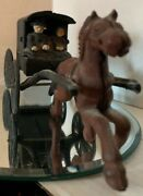 Vintage Cast Iron - Amish Family Horse Inside Drawn Carriage - Collectors Piece