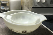 Pyrex Nesting Mixing Bowl Town And Country Brown Snowflake 4 Qt And 1 1/2 Qt Bowls