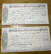 31 Set Of 2 Rare 1858 Quincy Mining Company Drafts