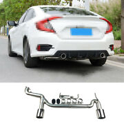 Steel Chrome For Honda Civic 2016-20 1.0t 2-outlet Exhaust Muffler Tip Tail Pipe