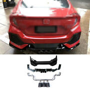 Abs Black For Honda Civic 16-2020 Rear Bumper Canards Splitter Cf 3-outlet Pipe