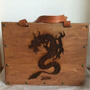 Jean Paul Gaultier Wooden Leather Bag Dragon Design Very Rare Used Very Good