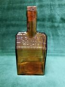 Vintage Wheaton Amber Glass E C Booz's Old Cabin Whiskey Bottle With Cork