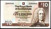 1989 The Royal Bank Of Scotland Plc Andpound10 Ten Pound Banknotes Real Currency Vf