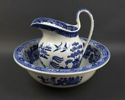 Wedgwood Willow Blue And White Large Wash Pitcher And Bowl Rare Set