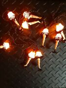 Used A Christmas Story Leg Lamp 10 Light String Strand Set - Hand Painted