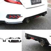 Honeycomb Rear Bumper Diffuser Spoiler Refit With Pipe Abs Cf For Civic 2016-20