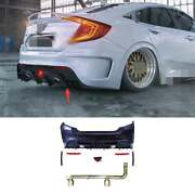 Unpainted Rear Bumper Diffuser Lip 2-outlet Pipe Fit For Civic 1.0t Ms 2016-2020