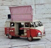 Vw Circa 1966 Tin Model 1.18 Scale Camper Van,with Awning And Suitcase Artwork
