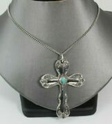Towle Old Master Sterling Silver Turquoise Ornate Cross Pendant W/ 20 Necklace