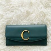 New With Tag Nwt | C Logo, Cloudy Gray-blue, Leather Long Wallet