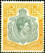Bermuda 1944 12s6d Grey And Pale Orange Sg120ce And039broken Lower Right Scrolland039 Fin...