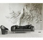 Custom 3d Three-dimensional Wallpaper Embossed Peacock Tv Couch Background Mural
