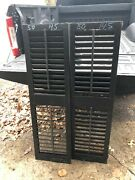 """Pair Antique Victorian Louvered House Window Shutters Black 50"""" X 14.5 X 1.25"""""""