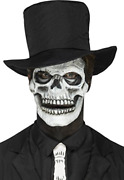 `smiffys Make-up Fx Foam Latex Skeleton Face Prosthetic 2 Pieces Cost-acc New